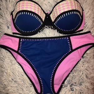 Victoria Secret Crochet Colorblock Bikini Set